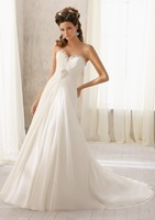 New Custom Made Sweetheart Sleeveless Beaded Chiffon Vintage A Line Wedding Dresses Bridal Gowns Free Shipping