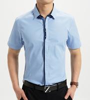 2014 mens shirt Summer clothing town down collar   cotton so fashion Slim M-XXXL  (DC0055)