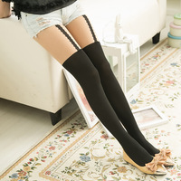 Women's Vertical Bead Chain False High Splicing Silk Stockings SH30