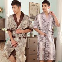 Free shipping v neck Spring and autumn summer soft silky male half sleeve medium-long viscose bathrobes sleepwear male