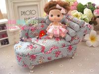 European-style garden princess mini chaise longue sofa fabric jewelry box / jewelry storage box S25