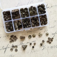 ( Vintage Bronze - Bead Caps ) 1200Pcs/Set Mix 10 Styles Antique Bronze Bead Cap & Box Jewelry Findings& Accessories