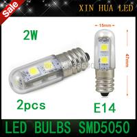 2pcs New arrive  light chandelier 210-230v E14 2W LED  Mini Refrigerator lights Bulbs corn  Lamps For Fridge Refrigerator