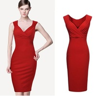 Plus Size S-XXL Guaranteed 100% 2014 New Fashion Summer Women's Sexy Deep V-Neck Bandage Dress Cocktail Dresses Formal Gown