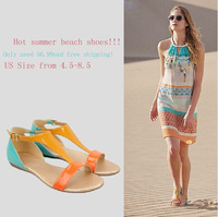 2014 Suede sandals Roman shoes for women , Europe style beach flat sandals ,free shipping!!!
