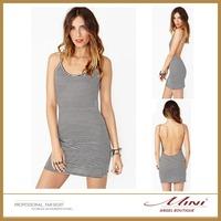 Free Shipping Women Sexy Spaghetti Strap Dress Backless O Neck Striped Pattern Women Dress