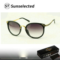 Free dropshipping New 2014 Fashion Women's Retro Cat Eye Sunglasses Frame Sports Coating Eyewear 100% UV protected	 SG201