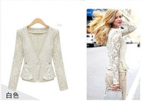 2014 Sale Rushed Freeshipping Silk Fashion Velour Sleeveless Zipper Flare Sleeve V-neck All Code 1372 Slim Lace Coat