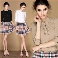 2014 Fashion New Designer Women's WesternEuropean Preppy Style Plaid Patchwork Slim Branded Dress LCW1406