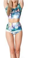 Cheshire Cat Nana Suit Bottom High Waist Women maple leaf print shorts Pants Free Shipping EAST KNITTING BL-246