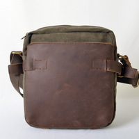 Brand new fashion men's canvas messenger bag full cowhide mini bag women Genuine leather on top high quality crazy horse vintage