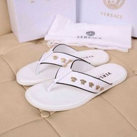 High Quality Men Brand Fashion Leisure Slippers Soft Leather Male Casual Flat Slides Crime of luxury medusa shoes