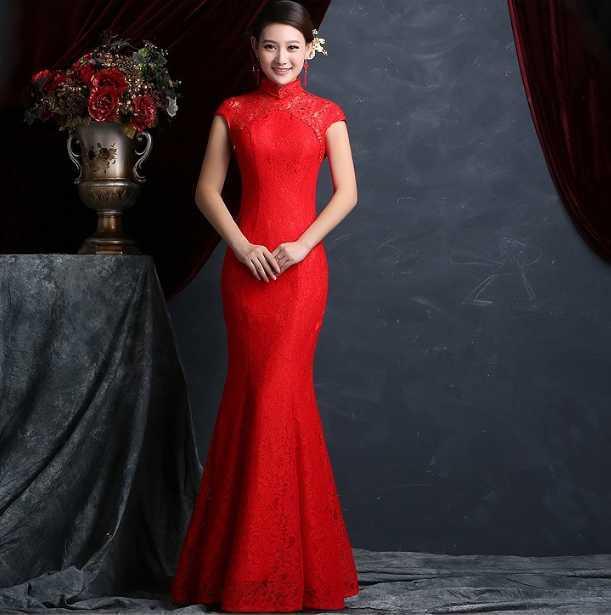 chinois rouge en Ligne à des Grossistes robe de mariage chinois rouge ...