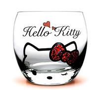 2014 New arrive RED WINE GLASS Beautiful Diamond champagne cup Hello Kitty glass cup for girl