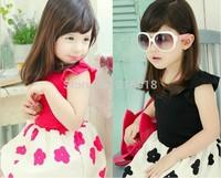 2014 new Summer children's Korean baby girls small fragrant flowers short sleeved Princess kids Dress