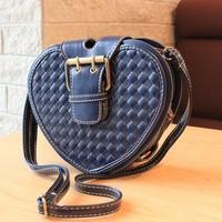 Discount selling women's mini messenger bag small heart style fashion plaid female shoulder bag weaving hand bag