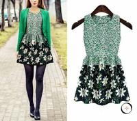 155 Seconds Kill New Arrival Freeshipping Casual Knee-length Print Ruffles 2015 Summer Fashion O-neck Sleeveless One-piece Dress