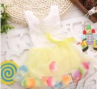 New 2014 summer hot sale Children's skirt  girls princess  flower dresses kids silk dress rainbow color 0-4 year free shipping