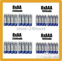 Wholesale - 8 AA 2500mAh 8 AAA 1000mAh NiMH Ni-MH 1.2v Rechargeable Recharge Battery Batteries pack HOT!