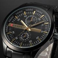 New 2014 Curren Men Luxury Brand Watch Fashion Watch Quartz Watch Black Full Steel Wristwatch Men sport casual watches