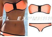Hot Women's Neon Orange Padded Zip Front Strapless Bikini Set Swimwear Swimsuit