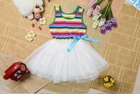 New 2014  Summer hot sale Girl Puffy dress children Dancing clothing Princess  Dress Rainbow striped dress Kids clothing