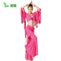 Free shipping long sleeves silk pink color Belly dance set tassel costume horn tassel top pants belt pants