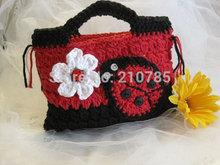 Mão grátis frete flor de crochê bolsa bolsa bolsa da menina joaninha padrão tamanho : 25 cm * 17 cm(China (Mainland))