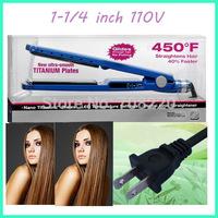 "Free ship 450 Degree F, PRO Nano Titanium Hair Straightener, 1 1/4""  110V voltage 12pcs/lot by DHL"