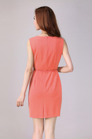 2014 new summer Women's Dress Fashion Slim Round Neck Sleeveless Dress Waist Career.