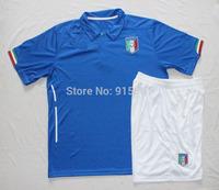Italy Home kits 2014 World Cup soccer jersey + shorts kits #9 balotelli #21Pirlo cassano top quality soccer uniforms kits