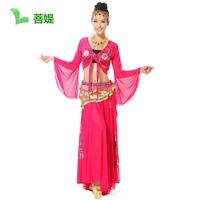 Free shipping Deep v neck red Belly dance set quality table costume diamond top diamond roll-up hem skirt