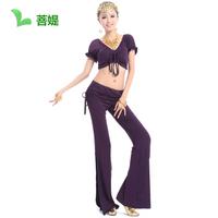 Free shipping short sleeves ruffles purple Belly dance set clothing dance ruffle top performance wear pants