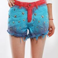 Fashion women's 2014 trousers jeans high waist shorts tie-dyeing rivet denim shorts female