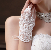 Bridal lace gloves design short wedding gloves formal dress mitring white laciness rhinestone