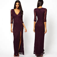 Fashion sexy slim richcoco V-neck side vent three quarter sleeve long design lace one-piece dress d327