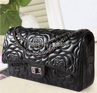 2014 Summer Black Women Shoulder Bag Floral Designer Famous Brand Style 100% Genuine Leather Women Shoulder Bag Small Chain Bag