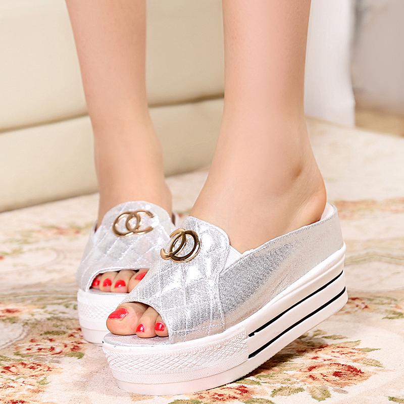 Fashion new 2014 women flat shoes platform wedges slippers women sandals for women women's shoes Free shipping(China (Mainland))