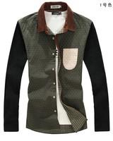 Men Dress Shirt 2014 Fashion Elegant Clothing Dot printed Different color Long sleeve Plus-size Free shipping