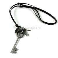 Key  Dog TAG Vintage Leather Cross Mens Necklace