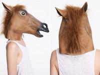 New Arrival 1pcs/lot Creepy Horse Unicorn Animal Head Mask,Halloween Costume Theater Prop Novelty Latex Rubber 3 colors AY671511