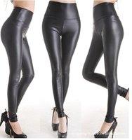 East Knitting FREE shipping C1 Women Shiny Metallic High Waist Pants Black Stretchy faux Leather Leggings  S/M/L/XL