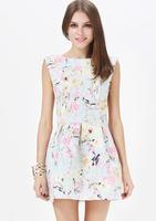 Girl's Light blue flower cuckoos digital print suspenders dress racerback sleeveless sweat dress Plus size XS-XXL WI309