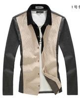 Dress Shirt Clothing 2014 Fashion Men Trend Leisure Casual Dot Printed Long sleeve Plus-size Free shipping