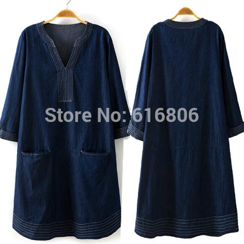 European Big size Fat Customized Design Denim New wash lady's Short sleeve European Women's Loose jean Dress For Fat Human(China (Mainland))