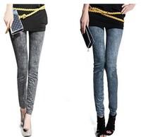 Hot Selling Women's Pants Fake  Pants Jeans seamless  Women Pants Blue Black Fake Imitation Jeans Leggings
