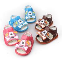 H 2014hot sale soft sole baby boys girls first walkers prewalkers kids children sandals dog cartoon footwear 0-2 years free ship