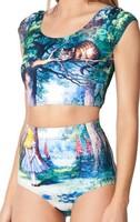 Cheshire Cat Nana Suit Top Cat girl print short t shirts Free Shipping EAST KNITTING BL-246