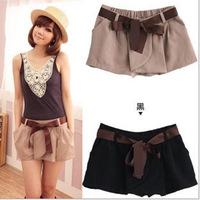 A Women Chiffon culottes elasitc loose shorts High waist shorts code divided skirts Free shipping Wholesale with belt