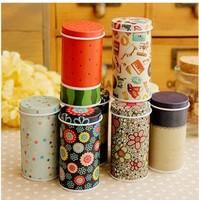 2014 Retail Small fresh tin cylinder portable storage box free shipping
